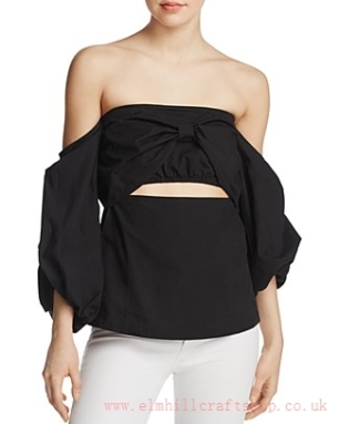 MLM Label-Pillar Cutout Off-the-Shoulder Top-BlackBlack-56UD8672-Womens Tops Tees-1